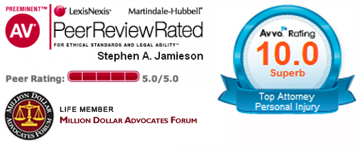 Accolades Stephen Allen Jamieson AV Preeminent - 10 Avvo Rating - Million Dollar Advocates Forum